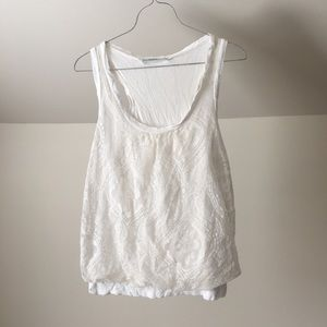 PLEIONE Lace Lined Cream White Tank Top